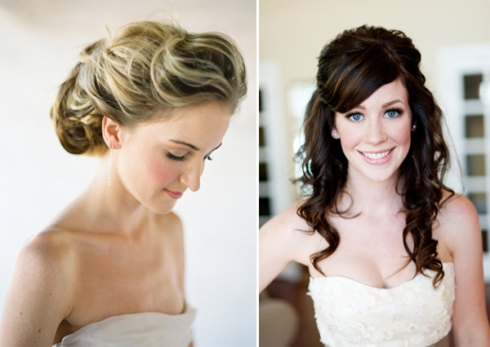 romantic updo and half up curly wedding hairstyle