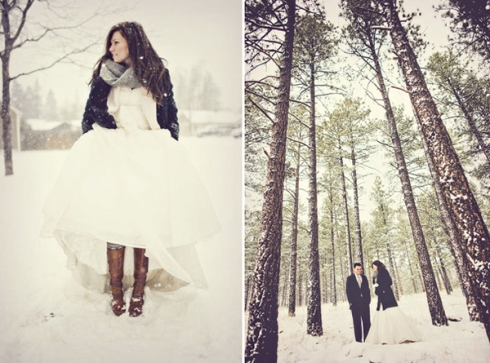 bride with boots and couple in snow covered woods