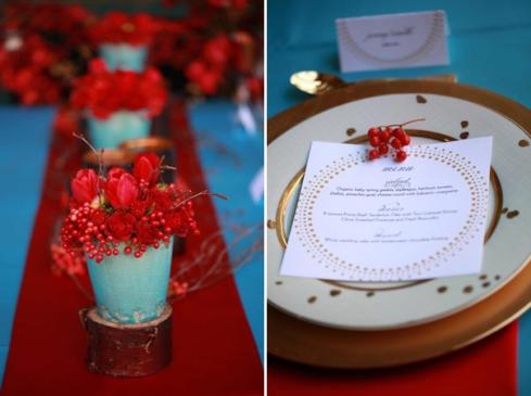 red aqua modern tulip berry twig centerpiece and wedding menu