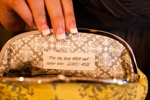 custom wedding clutch personalized bridesmaid message
