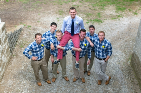 blue plaid groomsmen shirts country wedding