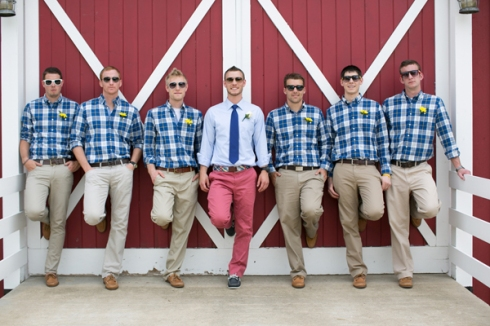 casual country wedding red barn plaid shirts