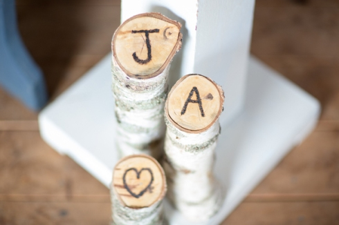 birch log decor initials heart
