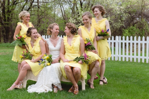 yellow ruffle bridesmaid dresses