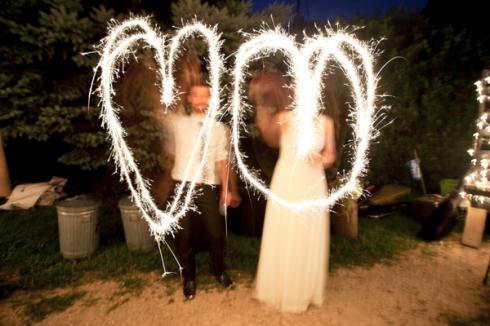 sparkler hearts wedding bride groom