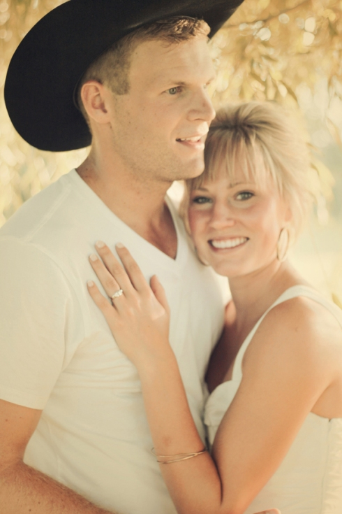 cowboy hat engagement session photo