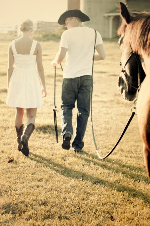 country farm engagement session photo horse